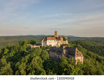 Aerial view of the Wartburg castle near the town of Eisenach