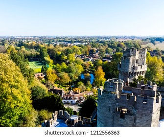 Aerial view of Warwick Castle - Caesar's Tower in Warwick, Warwickshire, United Kingdom on 21 October 2018