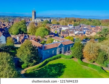 Aerial view of Warwick with Collegiate Church of St Mary in Warwick, Warwickshire, United Kingdom on 21 October 2018