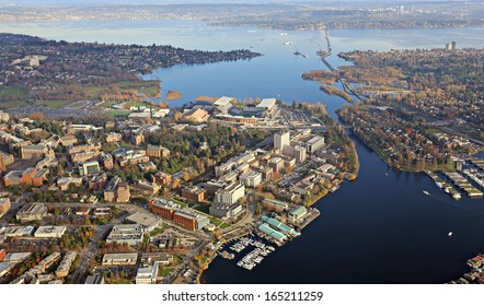 Aerial view of Washington University in Seattle and the University District