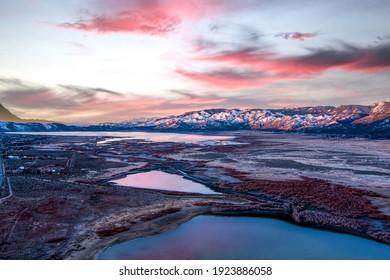 Aerial view of Washoe Lake between Reno and Carson City, Nevada