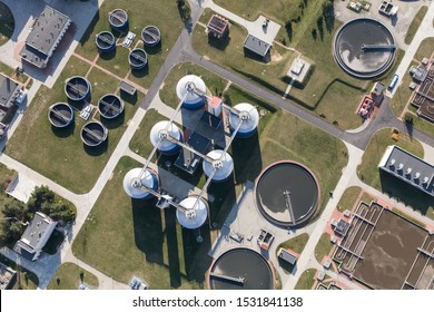 Aerial view of the waste water treatment plant in Poland Wroclaw