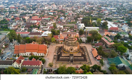 Aerial view of the Wat Chedi Luang ruined Buddhist temple in Chiang Mai, north Thailand