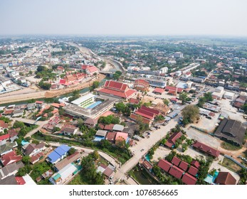 Aerial view of Wat Si Don Chai temple, Chiang Rai, Thailand