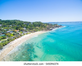An Aerial view of Wategoes beach in Byron Bay, NSW