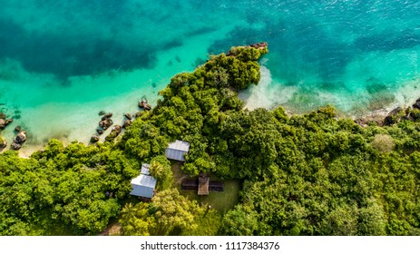 aerial view of the  water coast line in Zanzibar Tanzania