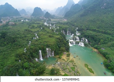 Aerial view waterfall. Ban Gioc waterfall or Detian waterfall is a collective name for two waterfalls in border Cao Bang, Vietnam and Daxin County, China. Amazing landscape nature in Vietnam and China