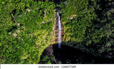 Aerial view of Macchabée Waterfall located in Black River Gorges, Mauritius