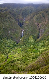 Aerial View of the  waterfall in Molokai Island , Hawaii, USA.