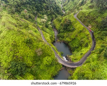 Aerial view of a waterfall on the road to Hana Maui Hawaii