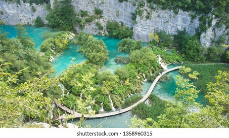 Aerial view of waterfalls and wooden ways in National Park Plitvice Lakes, Croatia