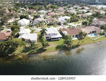 Aerial view of waterfront properties in florida