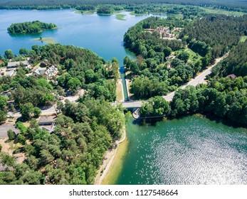"""Aerial view of watergate """"Przewiez, Biale Augustowskie and Studziennicze lakes, Poland"""