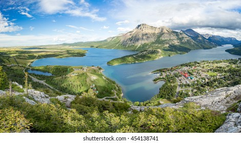 Aerial view of Waterton Lakes as seen from the Bear`s Hump.