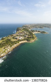 Aerial view of Watson's Bay and Camp Cove on the rugged outskirts of Sydney, Australia
