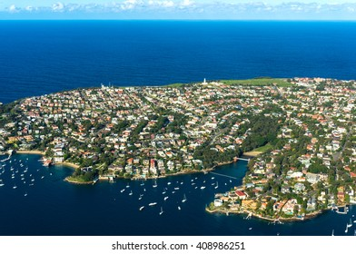Aerial view Watsons Bay. View on Sydney harbourside suburb from above. Aerial view on Sydney harbourside