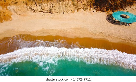 Aerial view of the waves in coastal strip Bar Kokhva beach, Ashkelon, Israel at July 2019.