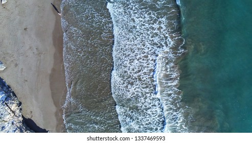 Aerial view of waves in  the Mediterranean sea. Barcelona. Spain. Drone Photo