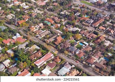 Aerial view of a wealthy neighborhood in Santiago de Chile