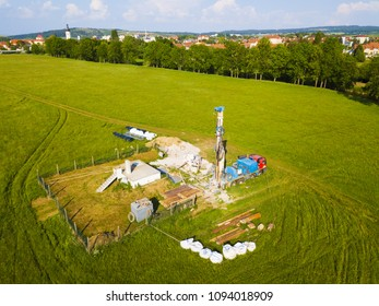 Aerial view of well drilling. Drilling truck set building new source of drinking water for nearby city.