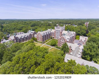 Aerial view of Wellesley College Tower Court in Wellesley, Massachusetts, USA.