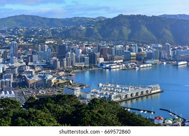 Aerial view of Wellington city, capital of New Zealand