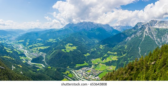 Aerial view of the Werfen village in Austria famous for Hohenwerfen castle and Eisriesenwelt ice cave.