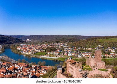 Aerial view, Wertheim with castle, river Main and Tauber, Baden-Württemberg, Germany