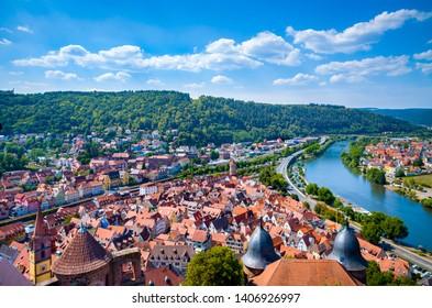 Aerial  view of Wertheim am Main, Germany.