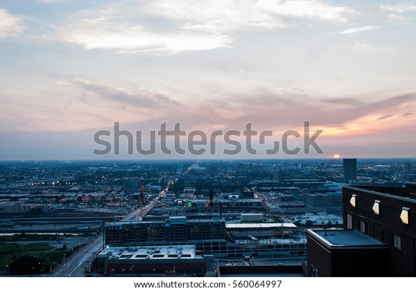 Aerial view of west loop downtown Chicago with dramatic sky