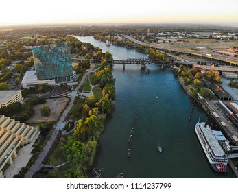 Aerial view of West  Sacramento downtown and river