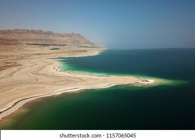 Aerial view of the west shores of the Dead Sea in the vicinity of Ein Gedi, Israel.