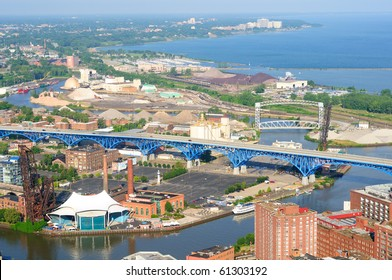 Aerial view of the west side of Cleveland Ohio with Cuyahoga River in foreground and Gold Coast in distance