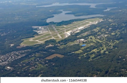 Aerial view of the Westchester County Airport in White Plains, New York.