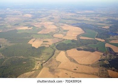 Aerial view - Western Russia at spring time - from great height.