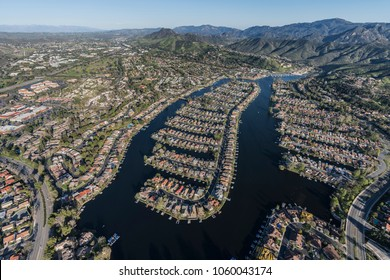 Aerial view of Westlake Island and lake in Thousand Oaks and Westlake Village communities in Southern California.