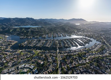 Aerial view of Westlake Island and lake near Los Angeles in suburban Thousand Oaks and Westlake Village, California.