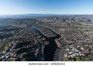 Aerial view of Westlake island, marina and lake in the Thousand Oaks and Westlake Village communities of Southern California.