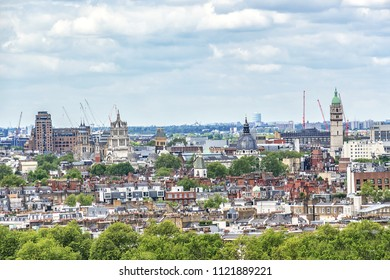 Aerial View from Westminster Cathedral: Roofs and Houses of London city.