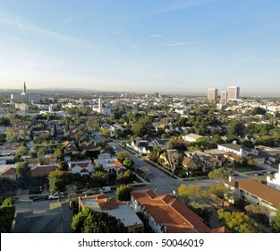 Aerial view of Westwood, California, looking south