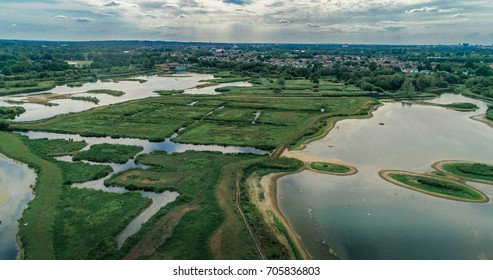 Aerial view of the wetland centre in west London