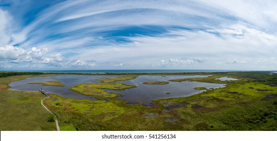 Aerial view of the wetlands in Outer Banks, North Carolina.
