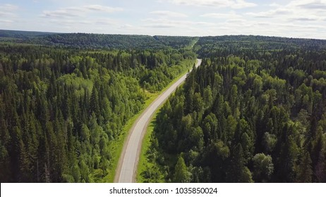 Aerial view of white car driving on country road in forest. Aerial view flying over old patched two lane forest road with car moving green trees of dense woods growing both sides. Car driving along