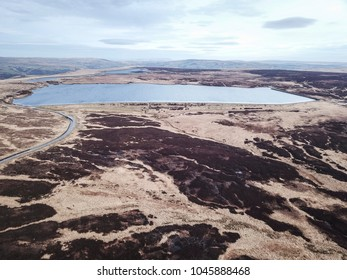Aerial view of White Holme Reservoir, above Cragg Vale, Calderdale, West Yorkshire