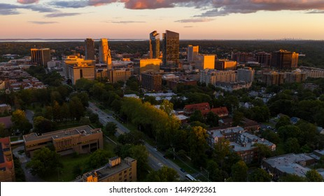 an aerial view of White Plains New York at sunset look up on the horizon for Manhattan - Shutterstock ID 1449292361