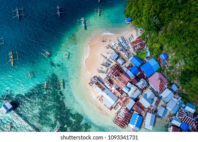 Aerial View of White Sandy Beach Fishing Village, Jayapura Papua Indonesia, Asia