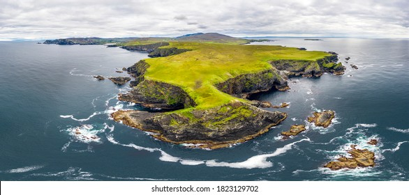 Aerial view of wild coast by Glencolumbkille in County Donegal, Irleand