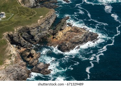 aerial view of the wild coast in the island of Belle-Ile in France
