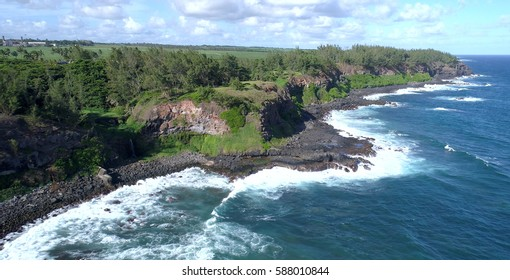 Aerial view of the wild south coast of Mauritius