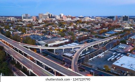 Aerial view Wilmington Delaware Downtown City Skyline bus station and highways